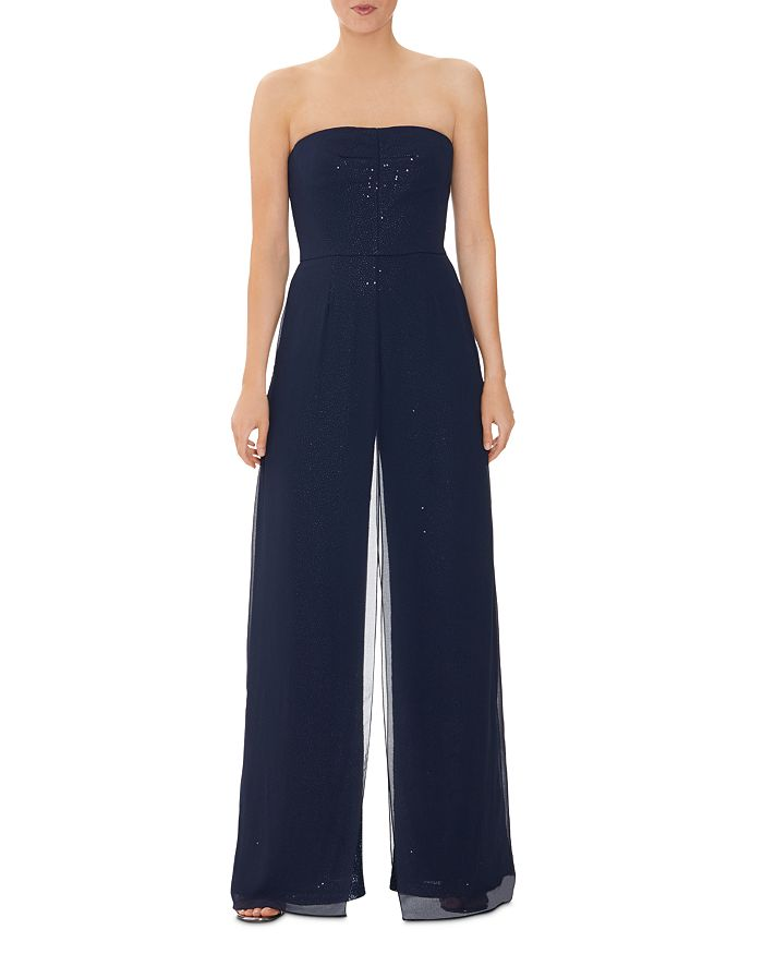 Halston STRAPLESS SEQUIN JUMPSUIT WITH SHEER OVERLAY