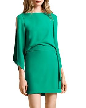 HALSTON - Long Slit-Sleeve Crepe Dress