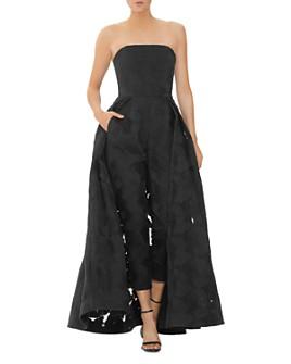 HALSTON - Strapless Jacquard Jumpsuit with Skirt Overlay