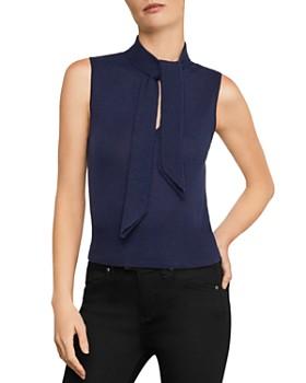 BCBGMAXAZRIA - Tie-Neck Sleeveless Sweater