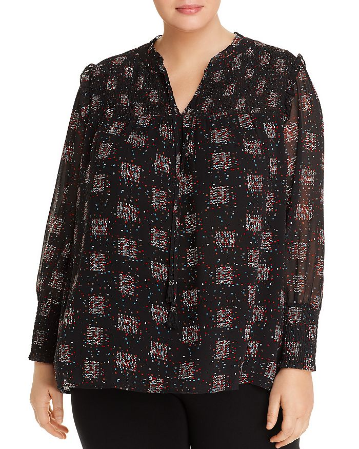 Daniel Rainn Plus - Smocked Printed Top