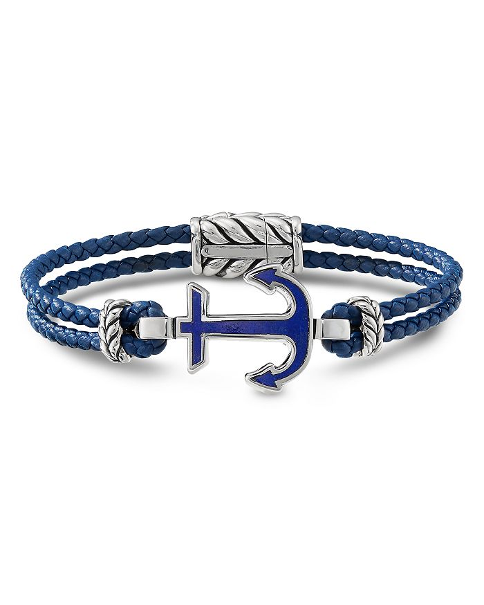 David Yurman - Sterling Silver & Leather Maritime Anchor Station Bracelet with Lapis Lazuli