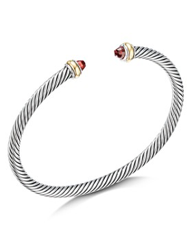 David Yurman - Sterling Silver & 18K Yellow Gold Cable Classic Bracelet with Garnet