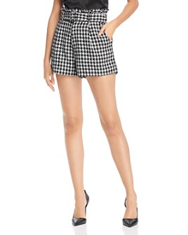AQUA - Houndstooth-Tweed Paperbag-Waist Shorts - 100% Exclusive