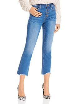 AQUA - Button-Fly Cropped Straight-Leg Jeans in Medium Wash - 100% Exclusive