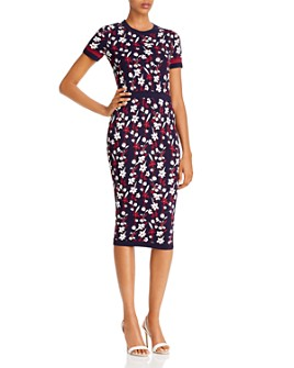 Shoshanna - Evan Floral Knit Midi Dress