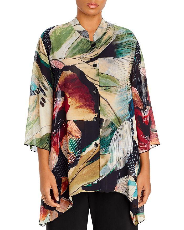 Caroline Rose Plus - Printed Mandarin-Collar Tunic Top