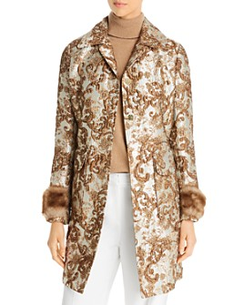 Elie Tahari - Sampson Metallic Jacquard Coat