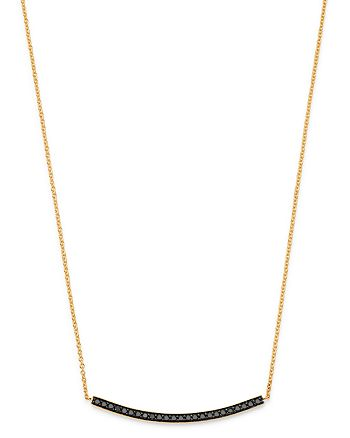 """Bloomingdale's - Black Diamond Bar Pendant Necklace in 14K Yellow Gold, 17"""" - 100% Exclusive"""