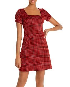 AQUA - Puff-Sleeve Plaid Dress - 100% Exclusive