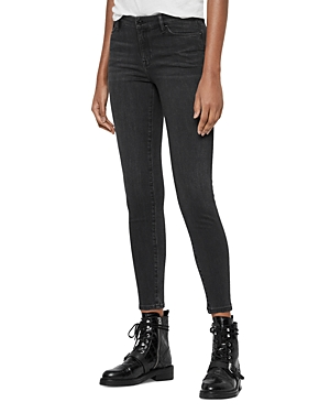 Allsaints Grace Ankle Skinny Jeans in Washed Black