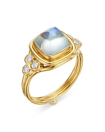 Temple St. Clair - 18K Yellow Gold High Classic Sugar Loaf Ring with Blue Moonstone & Diamonds