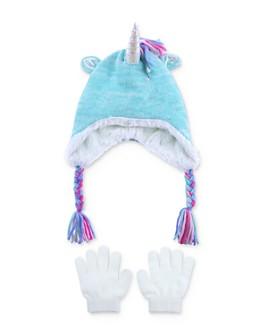 Capelli - Girls' Unicorn Hat & Gloves Set - Big Kid