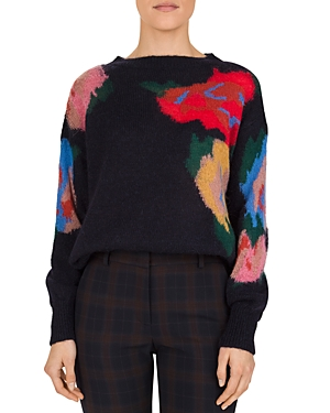 Gerard Darel Salome Abstract Floral-Pattern Sweater