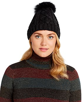 Echo - Asiatic Raccoon Fur Pom-Pom Cable-Knit Beanie - 100% Exclusive