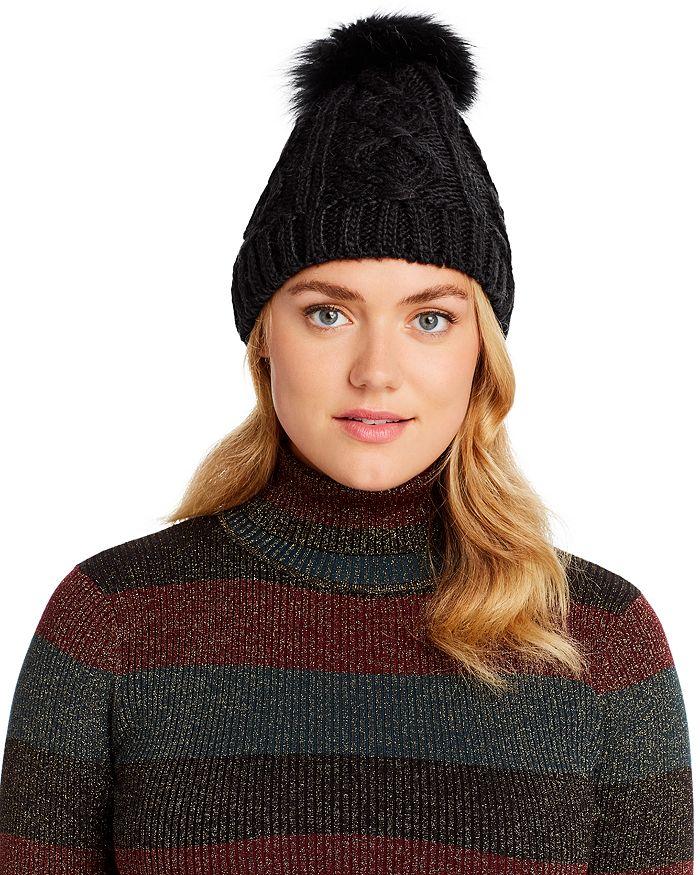 Echo - Asiatic Raccoon Fur Pom-Pom Cable-Knit Beanie - 100% Exclusive