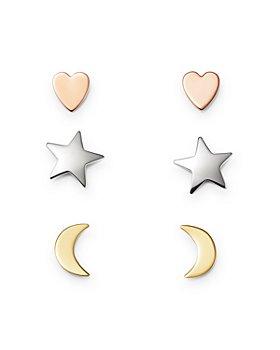 Bloomingdale's - Heart, Star & Moon Stud Earrings Set in 14K Yellow, White & Rose Gold - 100% Exclusive