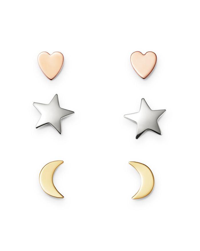 Bloomingdale's Heart, Star & Moon Stud Earrings Set in 14K Yellow, White & Rose Gold - 100% Exclusive  | Bloomingdale's