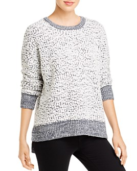 Cupio - Textured Knit Long Sleeve High-Low Sweater