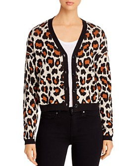 Marled - Cropped Leopard-Pattern Cardigan