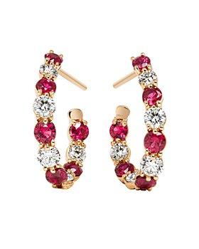 Gumuchian - 18K Rose Gold New Moon Diamond & Ruby Hoop Earrings