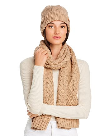 Barbour - Cable-Knit Scarf & Beanie Set