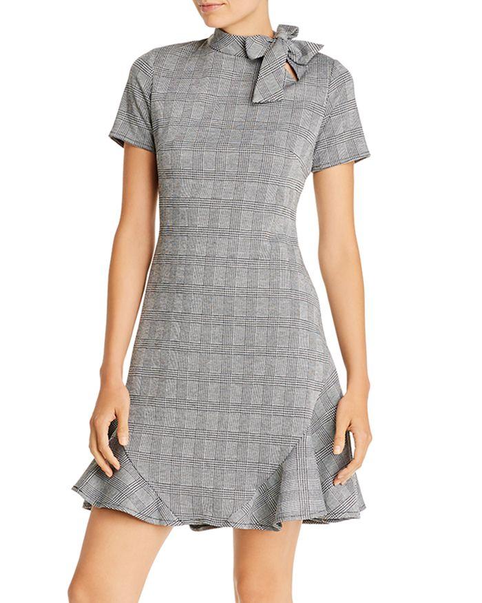 nanette Nanette Lepore - Tie-Neck Plaid Sheath Dress