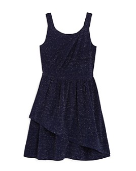 US Angels - Girls' Faux Wrap Sparkle Dress - Big Kid