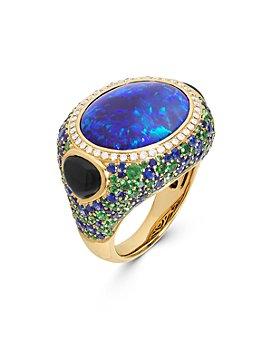 Marina B - 18K Yellow Gold Vinicia Rainbow Gemstone & Diamond Statement Ring