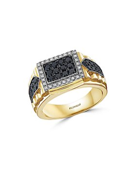 Bloomingdale's - Men's Black & White Diamond Ring in 14K White & Yellow Gold - 100% Exclusive