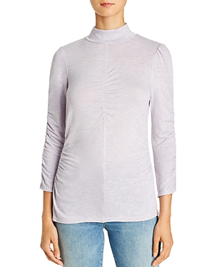 Rebecca Taylor Ruched Jersey Turtleneck Top