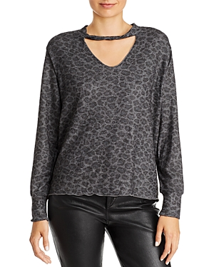 Lna T-shirts TWIST-NECK LEOPARD-PRINT SWEATSHIRT
