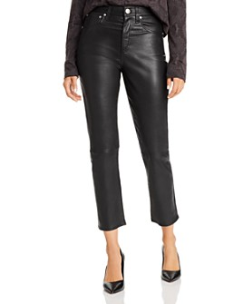 rag & bone - Maya High-Rise Straight-Leg Leather Ankle Jeans in Black