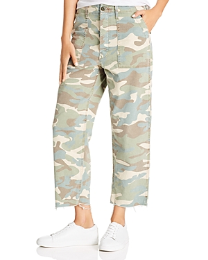 Mother Private High-Rise Patch Pocket Straight-Leg Ankle Jeans in Camouflage-Women