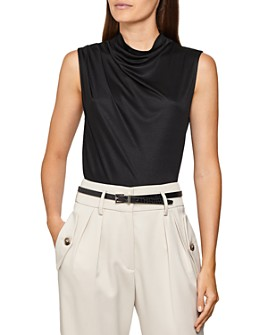 REISS - Lola Draped Mock Neck Top