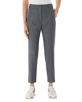 Peserico - Ankle-Length Side-Stripe Pants