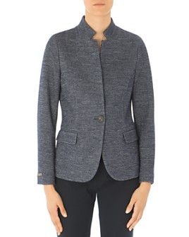 Peserico - Notched Stand Collar Single-Button Blazer