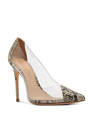 Schutz Women\\\'s Cendi Snake Print & Clear Pumps