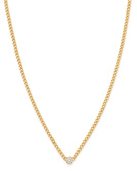 "Zoë Chicco - 14K Yellow Gold Bezel Diamonds Curb Chain Pendant Necklace, 14""-16"""