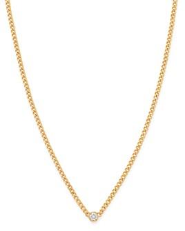 "Zoë Chicco - 14K Yellow Gold Bezel Diamonds Curb Chain Pendant Necklace, 14""-16"""