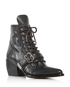Chloé - Women's Rylee Pointed-Toe Block-Heel Booties