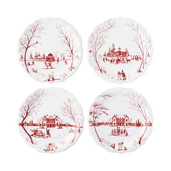 "Juliska - Country Estate Winter Frolic ""Mr. & Mrs. Claus"" Ruby Party Plates, Set of 4"