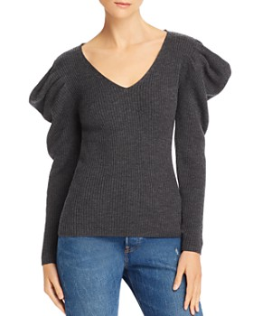 MILLY - Isabelle Ribbed Wool Puff-Shoulder Sweater