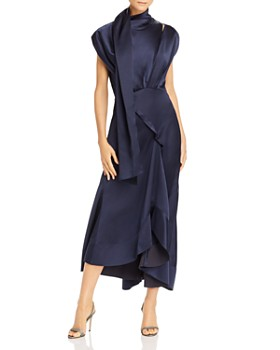 Acler - Dalisay Draped Matte Satin Midi Dress
