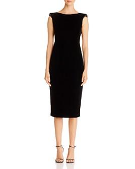 Armani - Embellished Twist-Detail Velvet Midi Dress