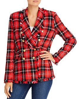 AQUA - Plaid Tweed Open-Front Blazer - 100% Exclusive