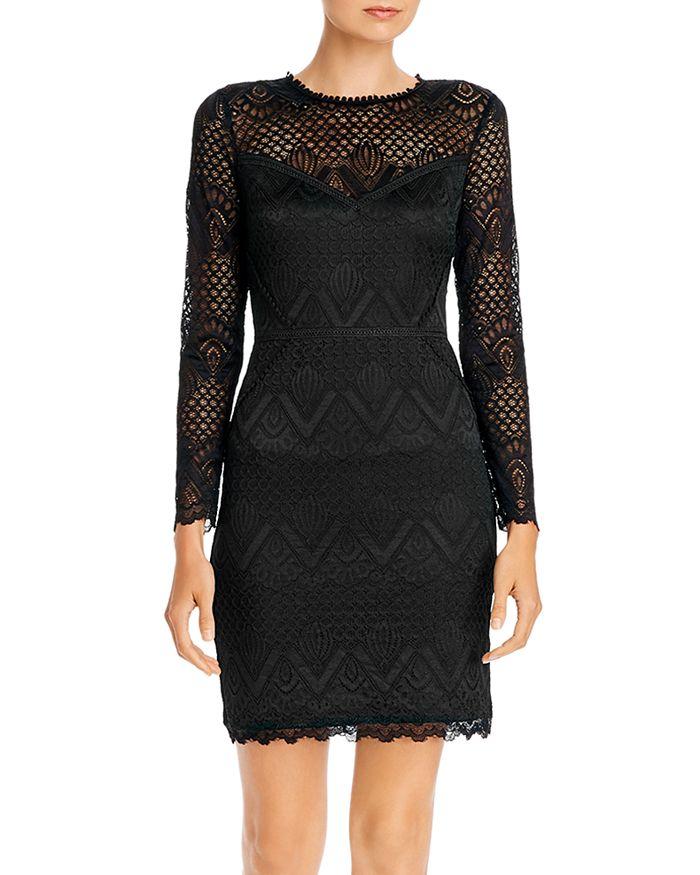 AQUA - Long-Sleeve Lace Sheath Dress - 100% Exclusive