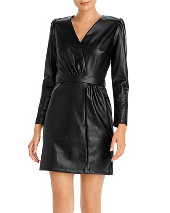 Lucy Paris - Puff-Sleeve Faux Leather Dress - 100% Exclusive