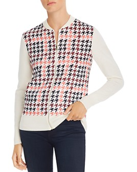 Ted Baker - Arlane Houndstooth Print Knit Bomber Cardigan - 100% Exclusive