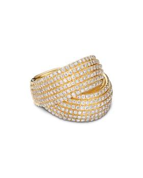 David Yurman - 18K Yellow Gold Origami Crossover Ring with Diamonds